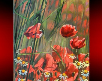 Poppies Oil Painting on Canvas | Hand Painted | Landscape Realism Painting | Poppies wall art | Original Painting nature | classic art