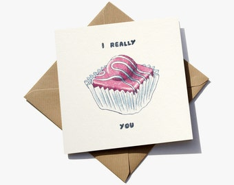 FREE delivery – Greeting card with 'I really fancy you' hand-drawn illustration - suitable for birthday, anniversary or Valentines