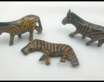 Set of 3 Hand-Carved Zebras
