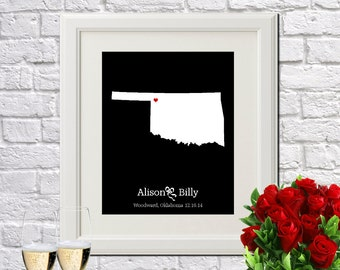 Custom Wedding Gift Personalized Gift For Couples Newlywed Gift New Home Decor Wedding Anniversary OKLAHOMA Wedding Gift - Any STATE