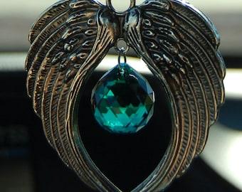 Crystal Suncatcher, ANGEL WINGS, Swarovski, Car Charm, 20mm Emerald Swarovski Crystal Ornament, Car Rearview Mirror Charm