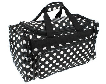 Black and White Polka dot Duffel bag Luggage tote Travel carryon Travel luggage