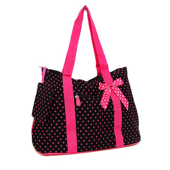 black and pink large polka dot tote bag for craft supplies or