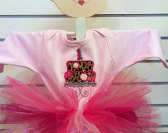 Pink Leopard Birthday Cake Birthday Onesie Tutu and FREE Hair Bow Personalized