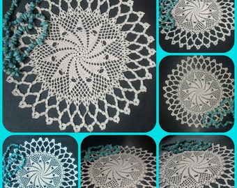 Openwork lace doily handmade, crocheted from 100% Cotton. Element of home decor.