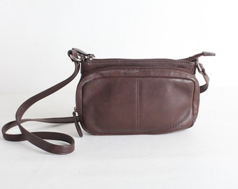 Vintage 90's Women's Brown Leather  Fossil Crossbody Purse