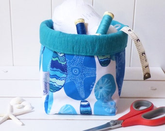Gift basket, Fabric storage basket, Storage bin, Blue, Aqua, Plant pot holder, Bathroom storage, Craft storage