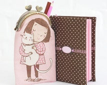 Gift for her fabric cover journal with pouch Girl with cat pink paper notebook cute gift for girl Pink Sketchbook Christmas gift