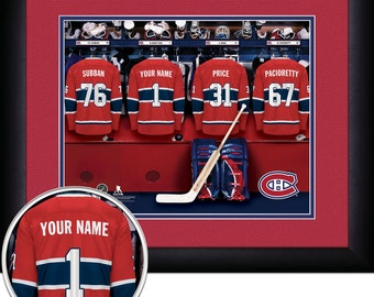 Locker Room Print -NHL-Montreal Canadians-Personalized!! MATTED and FRAMED