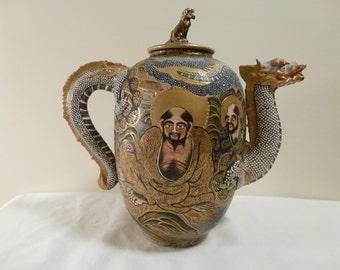 Japanese Satsuma Marriage Dragon Teapot