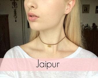 Jaipur suede choker with an elephant charm