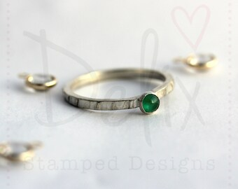 Sterling silver gemstone ring, birthstone ring