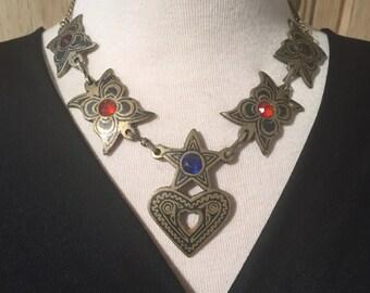 Vintage Necklace,Enameled Necklace,Kuchi Necklace,antique Necklace,collectible,statement necklace,Middle Eastern,Neck Piece,Vintag..
