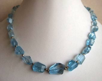 Blue Topaz Beads, Swiss Blue Topaz Necklace, Faceted Tumbles, 15mm To 8mm Each, 15 Inch Strand, 28 Pieces Approx