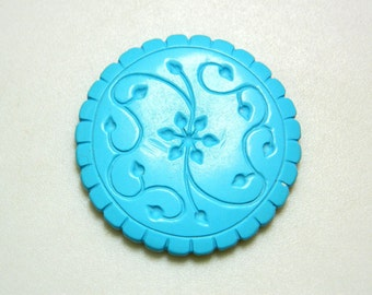 Turquoise Jewelry, Turquoise Findings, Hand Carved, Filigree Findings, Stone Carving, Gemstone Carving, 40mm, Focal Pendant
