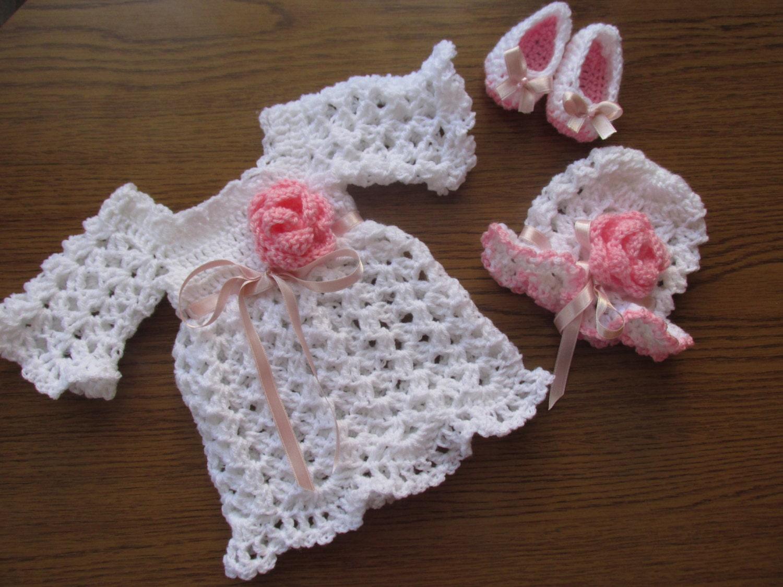 Crochet Baby Ballet Shoes Pattern : Crochet baby dress hat ballerina shoes PATTERN crochet