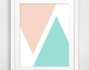 Triangles 1. Printable art mint print mint poster triangles print triangles poster triangles printable teal and blush print geometric print