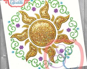Princess Sun Frame Applique Design For Machine Embroidery INSTANT DOWNLOAD