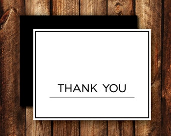 Set of Contemporary Modern Black and White Frame Border Wedding Thank You Cards Folded Blank Note Card