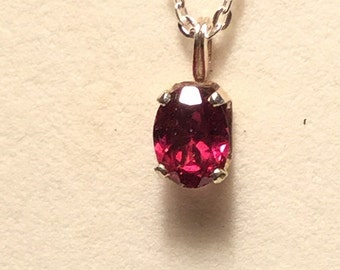 Natural Rubellite Oval Pendant 8x6mm. with silver chain