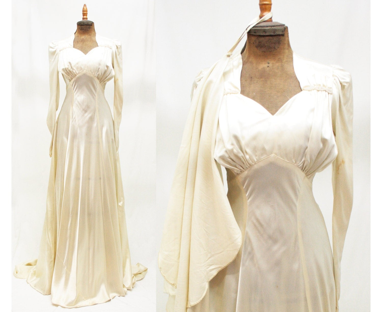 1930s 30s Vintage Beaded Art Deco Cream Satin Wedding Dress