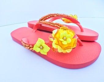 Hand-Beaded Flip Flops size 9/9.5