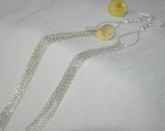 Silver Plated Chains Dangle Earrings