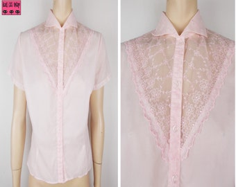 1940s Perce Pink Sheer Blouse Embroidered Lace Insert Glass Buttons Short Sleeves UK 10/12