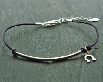 Leather sterling silver bracelet.Good luck bracelet.Horseshoe bracelet.Sterling silver bracelet.Leather bracelet.Friendship bracelet.L027