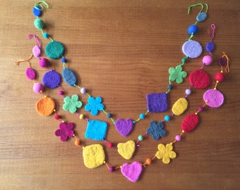 Wool Felt Multi-Shaped Garland, Wool Felt Bunting, Multicolored, Fancy with Hearts, Flowers, Circles, Squares and Ovals