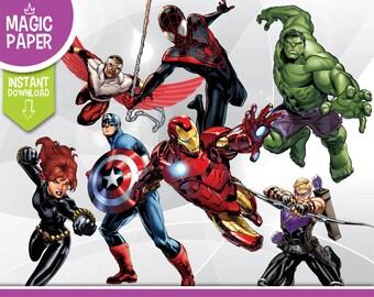 Superhero Clipart - Digital 300 DPI PNG Images, Photos, Scrapbook, Cliparts - Batman, X-men, Avengers, Spiderman, Marvel - Instant Download