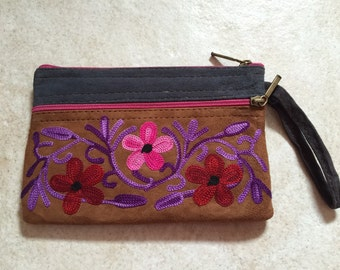 Purse handmade embroidered suede