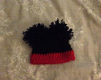 Mickey Mouse pom pom hat