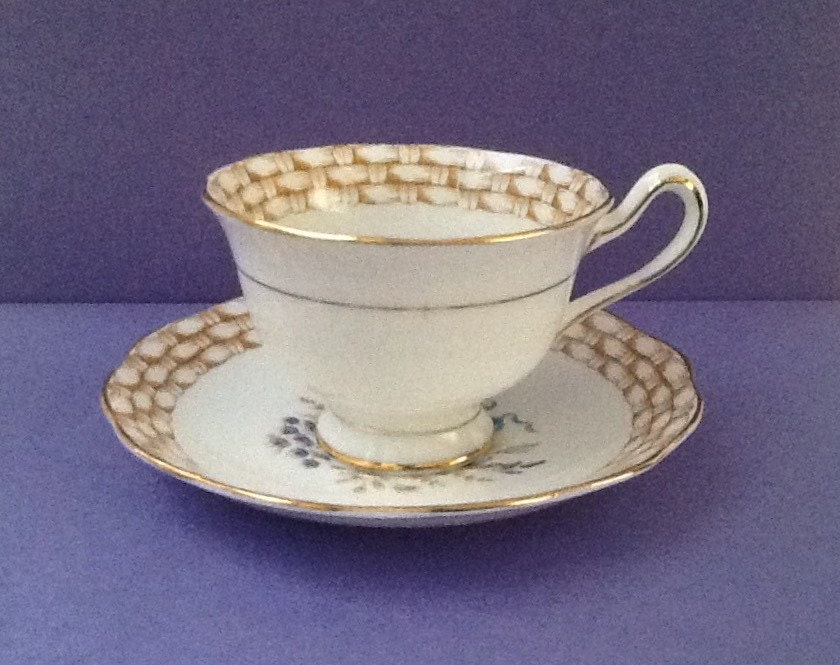 Royal Albert Basketweave Border Floral Pattern Bone China