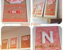 Princess wall framed art, baby girl nursery wall framed art, princess crown frame, baby room frame, baby room princess theme