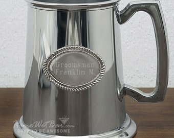 Custom Pewter Tankard - Glass Bottom Beer Stein, Groomsmen Gifts, Wedding Gifts, Anniversary Gifts