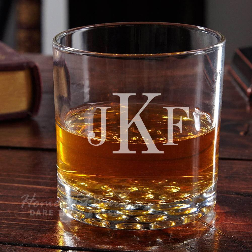 Buckman classic monogram whiskey glass housewarming gifts for Classic housewarming gifts