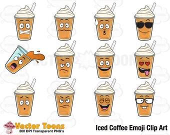 Iced Coffee Emoji Clip Art, Digital Clipart, Digital Graphics