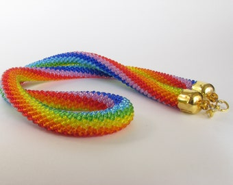 Rope Necklace  Bead Embroidery  Rainbow Necklace  Bead crochet  Cross-stitching