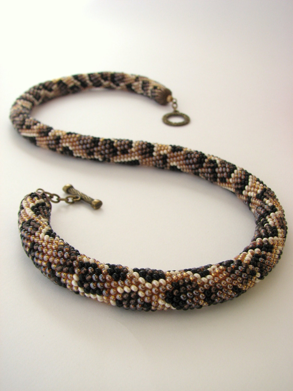 Rope necklace leopard pattern snake bead embroidery