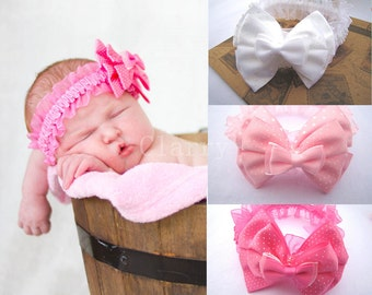 Newborn Baby Headband Girl Hair Band Bow Flower Stretchy Photo Prop Free Postage
