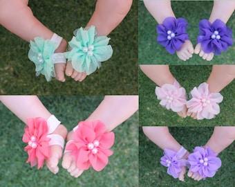 Handmade Newborn Baby Girl Barefoot Sandals Foot Flower Shoes Footwear  Free Postage