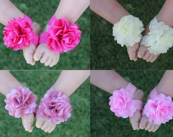 Baby Girl Barefoot Sandals Foot Flower Shoes Footwear Photo Prop Free Postage