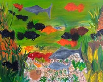 "Deep Sea, 18"" x 24"", Original Fine Art Oil Painting"