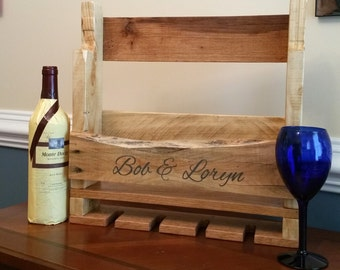 Wine Rack. Rustic Wine Rack. Pallet Wood Wine Rack. Hand Painted and Personalized.