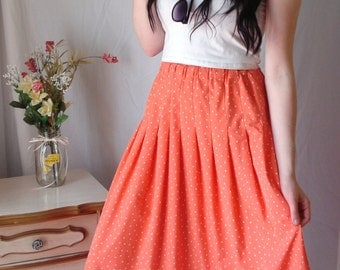 1970's Orange and White Polka Dot Southern Lady Maxi Skirt