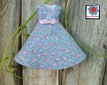Rose bud dress, handmade doll clothes, repainted Bratz doll, 9 inch doll clothes