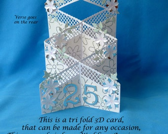 Trellis Style tri Fold 3D card for any occasion