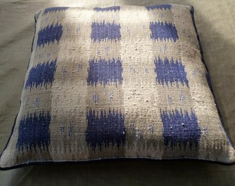 Square cushion blue and grey