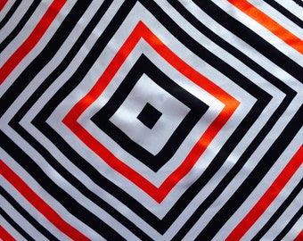 Op Art Mod Scarf in Black, Red and White.